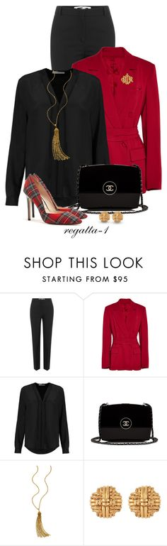 """Christmas"" by regatta-1 ❤ liked on Polyvore featuring McQ by Alexander McQueen, Barbara Casasola, Sandro, Chanel, Ben-Amun, Susan Caplan Vintage, black, red, tartan and polyvoreeditorial"