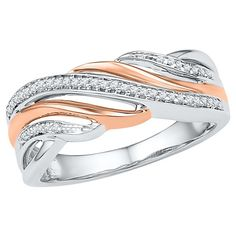 1/6 CT. T.W. Round Diamond Prong Set Anniversary Ring in Sterling Silver over 10K Pink Gold (8.5), Women's, White