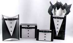 Create a Black Tie gift design that includes tuxedo gift boxes, pillow boxes and gift bags. They are a perfect for a wedding or a formal event. Wedding Boxes, Wedding Cards, Black Gift Bags, Gift Wraping, Pillow Box, Make A Gift, Cute Cards, Groomsman Gifts, Present Wrapping