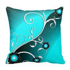 Aqua Silver Floral Vector  Pattern Throw Pillows