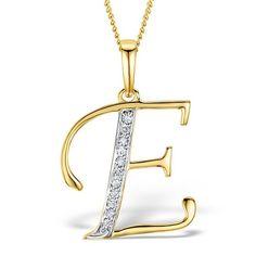 Trillion Designs 14k Gold over Silver Diamond Accent Initial 'E' Pendant Necklace (H-I, I1-I2) (