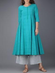 Blue Kalidar Cotton Kurta with Tanka Work Dress Neck Designs, Stylish Dress Designs, Stylish Dresses, Simple Dresses, Blouse Designs, Simple Kurti Designs, Kurta Designs Women, New Kurti Designs, Kurta Patterns