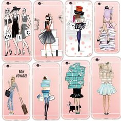 Fashion Girl Sexy Lady Shopping Gift Design Phone Case For iphone 5 5s SE 6 6s 6s Plus Soft TPU Transparent Case