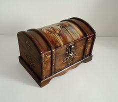 Rustic box, tulip jewelry box, Brown trinket box, box with decoupage, kitchen decoration, box for receipts, storage,