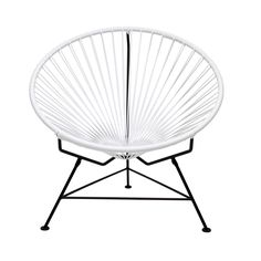 Sit back and melt into this hoop-shaped, sunburst-woven modern lounge chair, complete with UV-resistant vinyl cord for breathability and support and a rust-resistant galvanized steel frame with a semi-...  Find the Sunburst Hoop Modern Lounge Chair in White, as seen in the #MarrakechModern Collection at http://dotandbo.com/collections/marrakechmodern?utm_source=pinterest&utm_medium=organic&db_sku=INN0003-wht