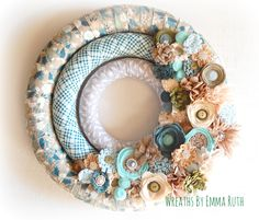 Triple Wrapped Fabric Wreath with felt flowers. Made by Wreaths By Emma Ruth