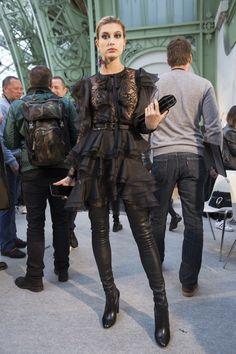 """ March 4: Hailey backstage at the Elie Saab Fashion Show during Paris Fashion Week [HQs] """