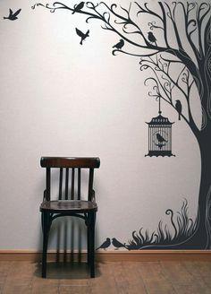 Tree Wall Painting, Simple Wall Paintings, Creative Wall Painting, Creative Wall Decor, Simple Wall Art, Art Mural 3d, 3d Wall Art, Tree Wall Decor, Tree Wall Art