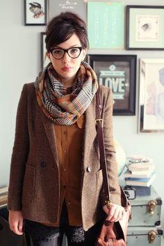 Tweedy brown academic/ lady detective look for work.