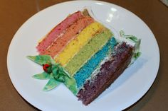Rainbow layer cake made with all natural food colorings.