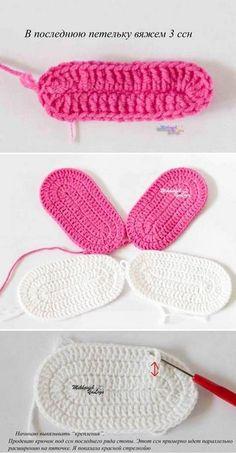 Tutorial en imágenes de sandalias para bebé tejidas con ganchillo con moldes y patrón, muy sencillas y bien detallado.