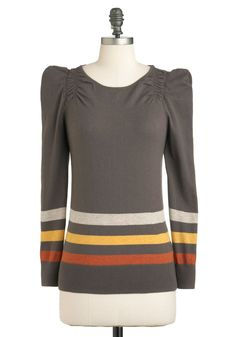 Unparalleled Perfection Sweater - Mid-length, Grey, Yellow, Brown, Stripes, Casual, Long Sleeve, Cotton