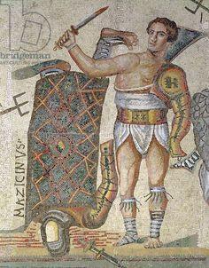 Battle between Gladiators detail of a victorious gladiator 320 AD (mosaic) Roman century AD) / Galleria Borghese Rome Italy / Alinari / The Bridgeman Art Library Ancient Rome, Ancient Greece, Ancient Art, Ancient History, Classical Antiquity, Classical Art, Roman History, Art History, Course De Chars