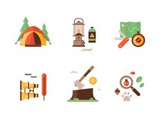 Camping Icons by Matt Anderson - Dribbble Flat Design Icons, Icon Design, Flat Icons, Design Design, Design Thinking, Camping Icons, Baby Icon, Flat Design Illustration, Isometric Design