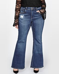 Update your denim collection with this chic fashion statement by Love & Legend. Offered in an ultra soft cotton blend with just the right amount of stretch, these plus size jeans bring a modern twist to retro fashion gems.<br /><br />Fit & Cut<br />- Fit & flare silhouette<br />- Regular rise<br />- Button fly<br />- 5 pockets<br />- 33 inch inseam<br /><br />Design details<br &#x...