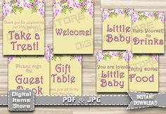 Baby Shower Signs - Baby Shower Table Signs - Flowers Welcome Sign - Favors Sign, Gift Sign - Flowers Table Signs, Floral - Instant Download by DigitalitemsShop on Etsy