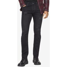 Calvin Klein Jeans Men's Slim-Fit Ripped Black Jeans ($67) ❤ liked on Polyvore featuring men's fashion, men's clothing, men's jeans, ripped black, mens slim jeans, mens distressed jeans, mens slim cut jeans, mens destroyed jeans and mens ripped jeans