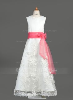 b4ef6d20799 A-Line Princess Scoop Neck Floor-Length Organza Satin Lace Flower Girl Dress  With Sash Bow(s) - JJsHouse