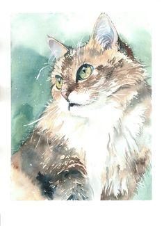 Custom pet portrait / Пример портрета домашнего животного на заказ by MicromysWatercolor on Etsy