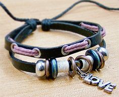 men women f Leather Rope Bracelet  with love  by lifesunshine, $7.99