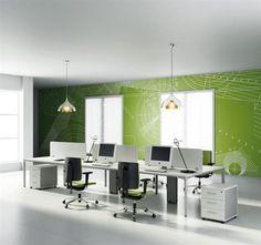 modern modular white computer group desk office