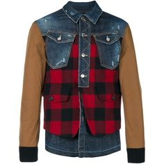 Dsquared2 denim Buffalo Check jacket (17.036.795 IDR) ❤ liked on Polyvore featuring men's fashion, men's clothing, men's outerwear, men's jackets, blue, mens distressed leather jacket, mens blue jacket, mens distressed denim jacket, mens collared jacket and mens denim jacket