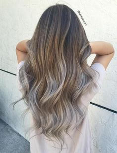 Light Brown And Silver Balayage Hair #HairStyles