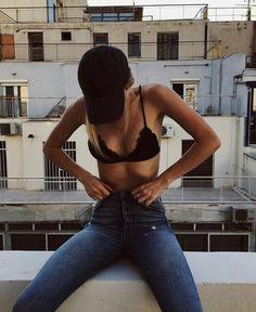 black cap + bralet + bf jeans