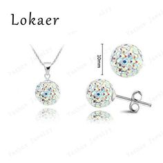 Fashion Crystal Set 10mm CZ Disco Pave Crystal Ball Pendant Necklace Stud Earrings Silver Chains Mix Options Free Shipping