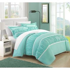Chic Home  Elizabeth Pleated and Ruffled 3-piece Duvet Cover Set Image 1 of 5
