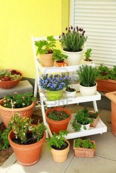 Pequeña hierba y jardín de flores en la terraza o techo Foto de archivo