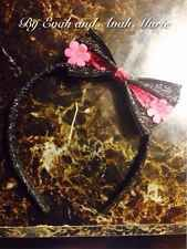 Girl Pink And Black Flower Headband With Bow