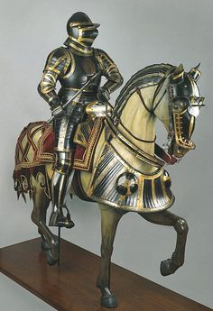 "Equestrian armour of Ottheinrich, Count Palantine of the Rhine. Dated 1532 and source: ""Masterpieces of European Arms and Armour in the Wallace Collection"" by Tobias Capwell. Horse Armor, Horse Gear, Arm Armor, Body Armor, Horse Tack, Medieval Knight, Medieval Armor, Medieval Fantasy, Armadura Medieval"