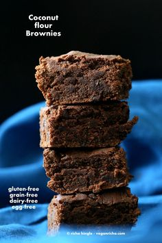These Vegan Coconut flour brownies are fudgy, moist and perfect for the chocolate craving. No dairy, eggs, gluten, grain, yeast, soy or nut.Great for Halloween