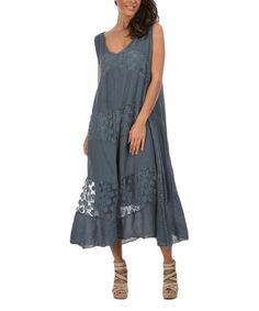 Faded Blue Joey Linen Dress $59.99 by Zulily