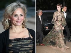 Left: Amy Sedaris; Right: some guy steps on Anne Hathaway's Valentino Gown