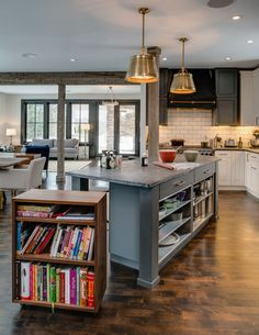 Love the bookshelf cabinet on casters (just needs a book prop for easy viewing of recipes while cooking)