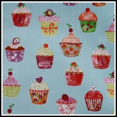 Oilcloth Patterns, Cupcakes Azure,