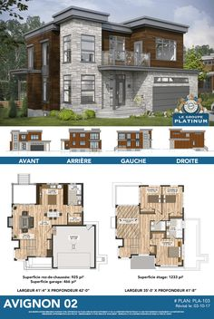 Discover here the model Avignon one of our many models of houses dis . Home Design Floor Plans, Home Building Design, Architectural Design House Plans, House Floor Plans, Building A House, Architecture Design, Building Ideas, Classic House Design, Modern House Design