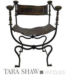 "Vintage Italian Savonarola Chair With Gilded Trim On Leather  Item: CR1022M 29""h x 20""w x 17""seat height"