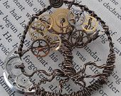 Steampunk Tree of Time Wire Wrapped Necklace with Watch Gears Tree of Life