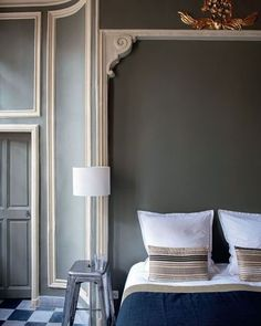 love the bed border... maybe paint inside the molding a different color than the rest of the wall.