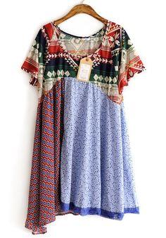 Blue Patchwork Geometric Irregular Cotton Dress
