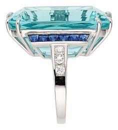 nice Aquamarine, Sapphire, Diamond, Platinum Ring. ... Estate | Lot #54290 | Heritage Auctions