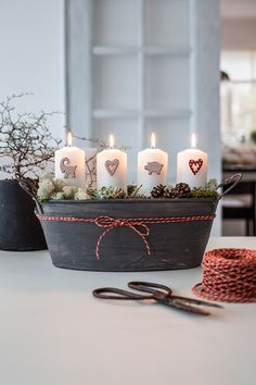 Candle Amore - Decoration Pins - Dress up your pillar candles this year with Scandinavian decorations which push right into the side of your candles. Christmas Kitchen, Simple Christmas, Christmas Home, Handmade Christmas, Scandinavian Candle Holders, Santa Lucia Day, Easy Christmas Decorations, Candle Decorations, Advent Wreath