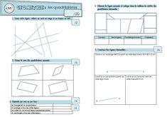 Les quadrilatères : une évaluation et un exercice d'entraînement pour les CM1