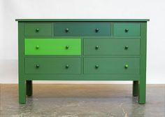 I want to paint Hannah's ugly IKEA dresser--maybe something like this in fuschias and purples?