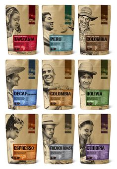 packaging by Level Ground, a fair trade coffee company. The packaging celebrates the coffee farmers and shows the 'producer is the real hero'. Sugar Packaging, Kraft Packaging, Cool Packaging, Chocolate Packaging, Food Packaging Design, Coffee Packaging, Coffee Branding, Packaging Design Inspiration, Paper Packaging