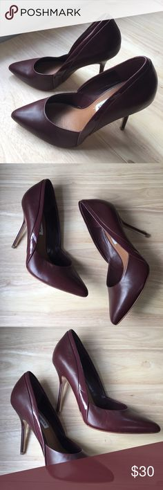 Steve Madden Maroon Pointed Toe Pumps Lightly worn. Crease on right side of right shoe from storage. Leather and patent leather. 4 inch heel. Box not included. Steve Madden Shoes Heels
