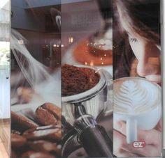 Large window display outside of a coffee pavilion in a mall, Capelle, Rotterdam. photo : Jeroen Figee 2014